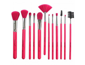 Kit com 12 Pincéis para Maquiagem EN001 Rosa Neon Macrilan