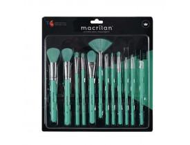 Kit com 12 Pincéis para Maquiagem EN001 Verde Neon Macrilan