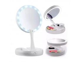 Espelho de LED Portátil Articulado Dupla Face USB
